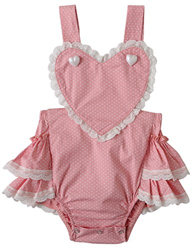 Pink Heart Boutique - Baby Girl Romper Newborn Romper Photography Ruffle Butt Romper Baby Bodysuit Sleeveless Lace Outfit Photoshoot Onesies Outfit Party Infant Jumpsuit Summer Sunsuit Heart Pink Boutique Clothes 0-3 Month