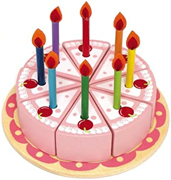 Amazon.com: Play Food Set: Toy Tarta de cumpleaños con velas ...