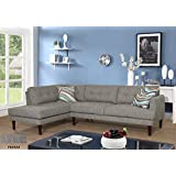 Beverly Fine Furniture SH6002A Emeral Left Facing Linen Sectional Sofa, Gray