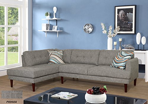 Beverly Fine Furniture SH6002A Emeral Left Facing Linen Sectional Sofa, Gray For Sale