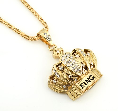 Hip Hop Bling Gold Tone King Crown Pendant Necklace free 36