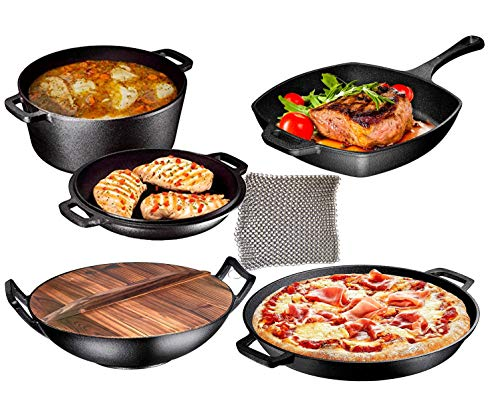 Bruntmor BR-AZ356 Cast Iron 7 Piece Bundle Gift, Double Dutch, Wok with Lid, Large Skillet, Square Grill Pan & Chainmail, Camping Cookware Set, 12, 7pc Pre-Seasoned