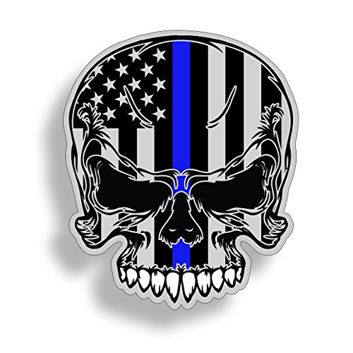 Blue Line Skull Sticker - Support Police Law Enforcement Custom Car Truck Decal Graphic TBL