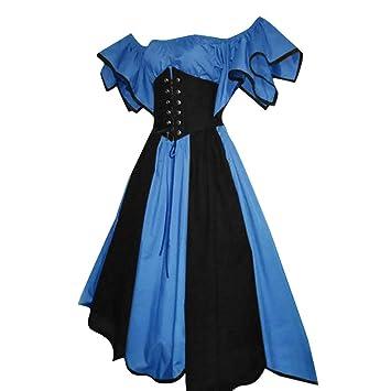 Yusealia Damen Mittelalterliche Kleid mit Trompeten/ärmel Mittelalter Party Kost/üm Maxikleid