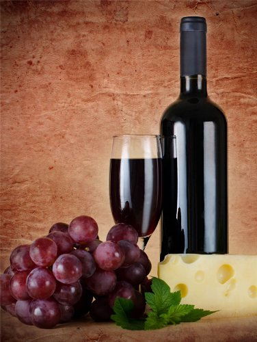 RED WINE GLASS CHEESE GRAPES KITCHEN PHOTO FINE