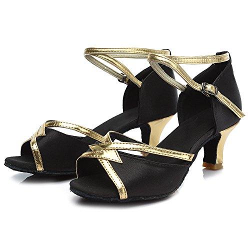 Baile Satén HROYL de Mujer Negro Baile de Latino Zapatos 225 Salón XrptXqnS0