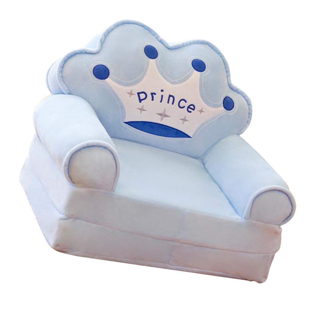 B Blesiya Crown Mini Chair Seat for Children Cartoon Folding Baby Sofa Multifunctional Sofa Cover Birthday Gifts for Boys and Girls as described Blue