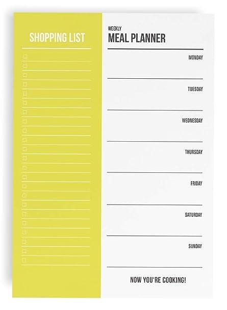 Planificador de comidas y lista de la compra, bloc A5, 50 ...