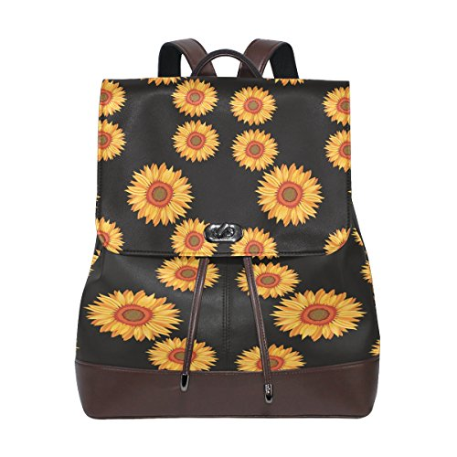 Retro Sunflower Women's Genuine Leather Backpack Bookbag School Shoulder Bag