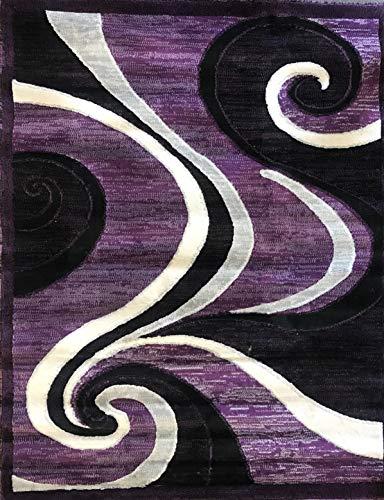 Americana Modern Area Rug Purple Black Gray Design 144 (5 Feet 2 Inch X 7 Feet 3 Inch) (Area Gray And Rug Purple)