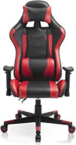 Video Game Chair, Ergonomic Computer Gaming Chair Big and Tall PC Racing Office Chair PU Leather Executive Task Chair Swivel Desk Chair with Adjustable Armrests Headrest and Lumbar Support (Red)