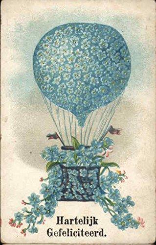 Hartelijk Gefeliciteerd - Balloon and Basket Covered in Blue Flowers Original Vintage Postcard