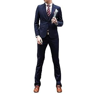 WEEN CHARM スーツメンズ 上下セット セットアップ ビジネススーツ スリム 着心地良い 礼服 結婚式 就職スーツ オールシーズン シンプルデザイン 上下セット 無地 パーティー スーツ (ネイビー, 3XL)