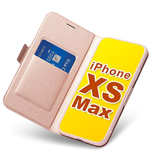 iPhone Xs Max Flip Case with Card Holder, Magnetic Closure, Kickstand - Ultra Slim Leather Wallet/ Folio Notebook, (Hard PU + Soft TPU) Full Cover-Complete Protection for Apple 6.5