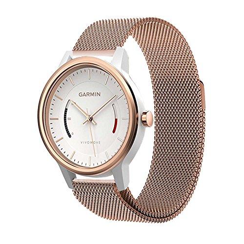 Garmin Vivomove Watch Band, Yesoo Premium Magnet Loop Milanese Watch Band Bracelet Strap for Garmin Vivomove Premium/Classic/Sport (Rose Gold)