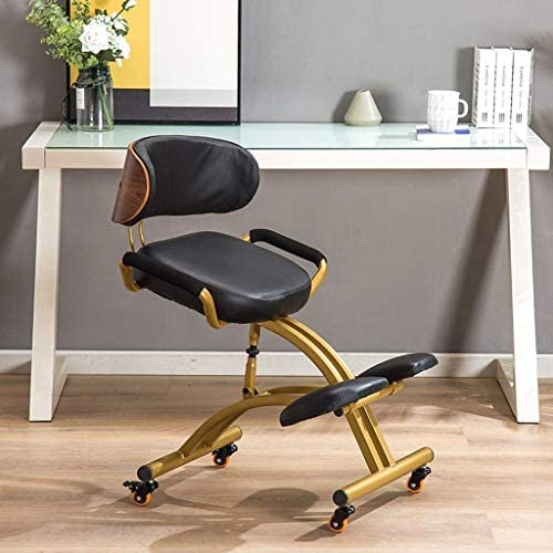 XLGJCWQY Chaises à Genoux Tabouret orthopédique Ergonomique Cadre de Posture Siège en Cuir PU Tabouret réglable en Hauteur Bureau à Domicile
