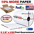 "3-1/8"" x 230' (50 Rolls) Thermal Paper 2.75"" Diameter Cash Register Rolls No BPA Made in USA from BuyRegisterRolls 318230"