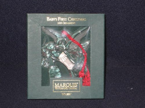First Christmas Stork Ornament - 2000 Marquis Waterford Crystal - Stork Baby's First Christmas Ornament