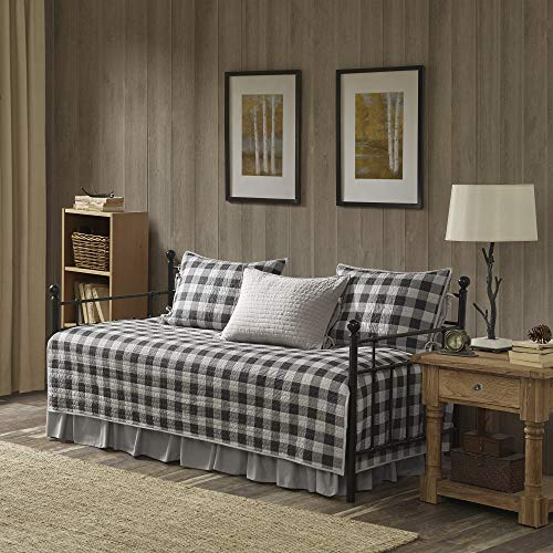 Woolrich Buffalo Check Daybed Size Quilt Bedding Set – Gray, Checker Plaid – 5 Piece Bedding Quilt Coverlets – 100% Cotton Bed Quilts Quilted Coverlet