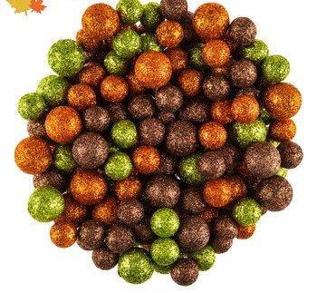 Fall Foam Glitter Balls, Orange, Green, Bronze Bowl Vase Filler Scatter Decorations by FallDecor