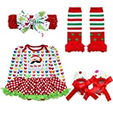 CHICTRY Newborn Baby Girls 1st Christmas Costume Outfits Tutu Romper Dress with Headband Leg Warmer Shoes set #4 Love-Hearts Christmas Santa 6-9 Months