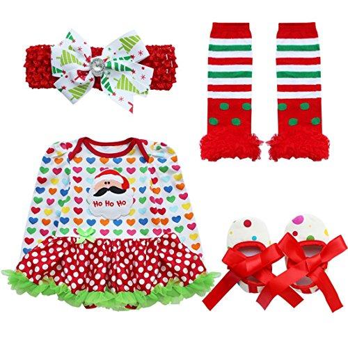 iEFiEL Baby Girls Christmas Skirt Bodysuit Headband Leg Warmmer Shoes Set (6-9 Months, Hearts Santa) -