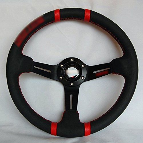 Wotefusi Car New 14' inch 350mm Diameter 3' Deep Aluminum Sport Race Racing Steering Wheel With Horn Button Leather Red Line