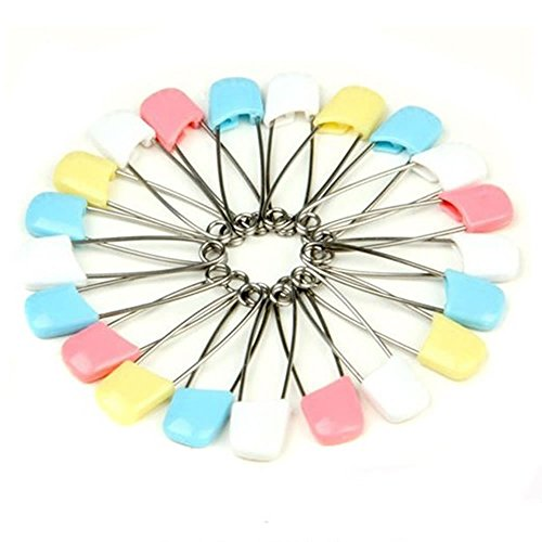 BoNaYuanDa 30pcs Stainless Steel Traditional Baby Safety Pin Safety Locking Nappy Pins with Assorted Color Plastic Head for Baby Cloth Diaper