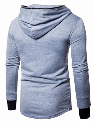 Sweater Grey today Zipper Light Color Oblique Slim Men UK Fit Hooded Solid wwz6ZSq