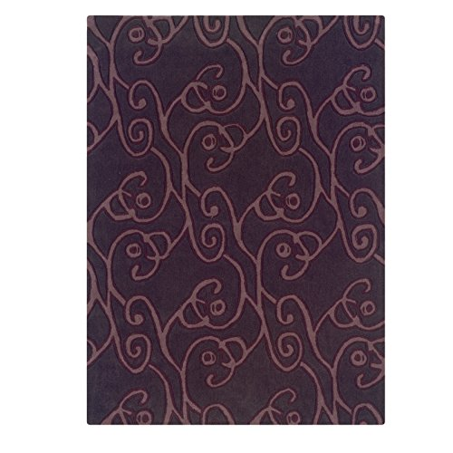 Linon Trio Collection Chocolate & Violet Rug (5' x 7') - Trio Collection Rectangular Rug