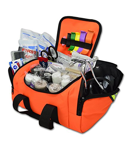 Lightning X Value Compact Medic First Responder EMS/EMT Stocked Trauma Bag w/Standard Fill Kit B - Orange (Medical Als Supplies)
