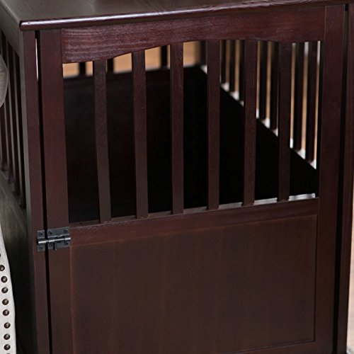amazoncom dog crate kennel cage bed night stand end table wood furniture cave house room large size dark brown pet supplies