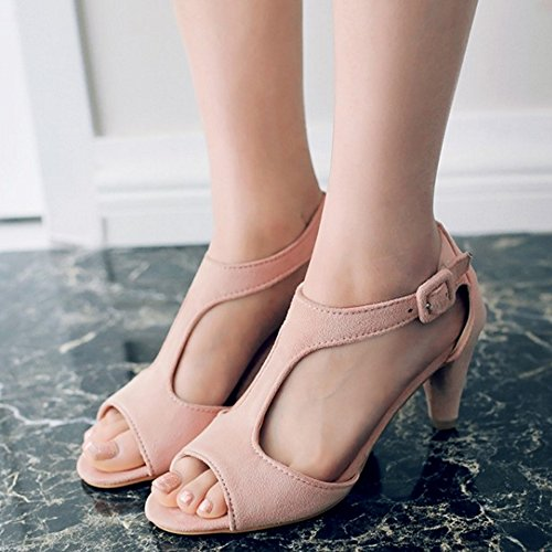 RizaBina Pink Cone Sandals Women Fashion Heel Party Buckle Mid With Heel 681 rwrAFCq