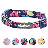 Blueberry Pet 5 Patterns Spring Made Well Profound Floral Print Dog Collar in Navy Blue, X-Small, Neck 7.5''-10'', Adjustable Collars Dogs