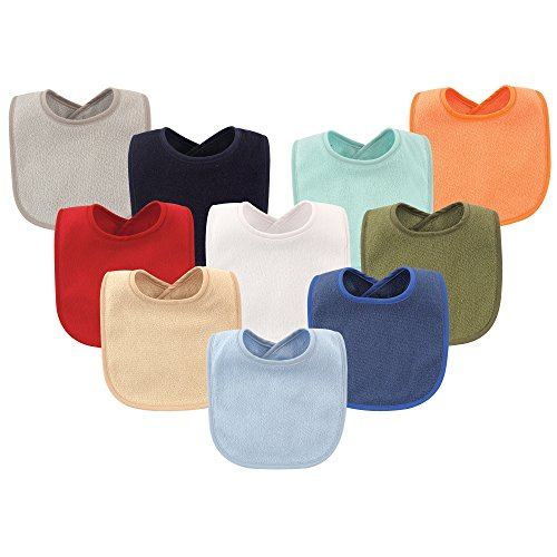 Hudson Baby Baby Drooler Bibs with Waterproof Lining, 10 Pack, Boy Solids, One - Baby Bibs Plain
