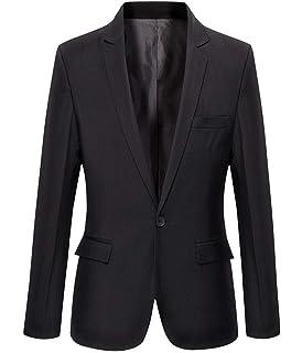 X-Future Mens One Button Solid Color Casual Slim Fit Lapel Sport Coat Blazer Jacket