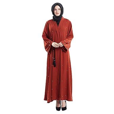 NPRADLA Large Falda Frente de Dubai Open Abaya Pearl Organza de ...