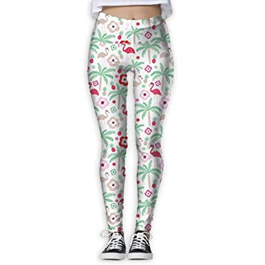 a24266a79b1c Amazon.com: Hot Summer Flamingo Pineapple Palm Tree Women's Yoga Leggings  Running Tights Sports Leggings: Clothing