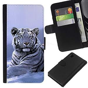 KingStore / Leather Etui en cuir / Sony Xperia Z1 L39 / Winter Tiger Blancanieves Azul Fría