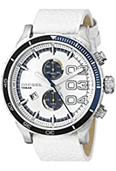 Diesel Men's DZ4351 Double Down 2.0 Chrono Stainless Steel Watch With White Leather Band