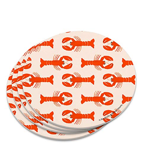 Cute Maine Lobsters Pattern Novelty Coaster Set ()