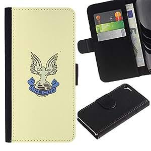 Protector de cuero de la PU de la cubierta del estilo de la carpeta del tirón BY RAYDREAMMM - Apple Iphone 5 / 5S - UNSCOF