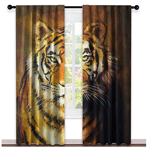 (hengshu Tiger, Curtains Unique, Oil Painting Style Big Cat Purposeful Eyes Carnivore Bengal Feline of East, Curtains Kids Bedroom, W84 x L84 Inch Black Light Brown )