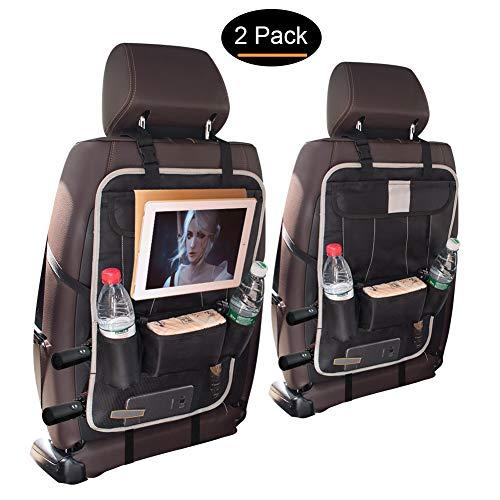 jiatushuma Backseat Car Organizer,Car Back Seat Organizer for Kids and Toddlers, 6 Pocket Multipurpose Use,Fit to Baby Stroller, Large Storage, Kick Mat,Auto Back Seat Protector, Auto Car Organizer