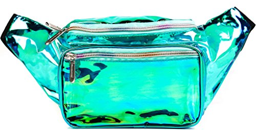 SoJourner Holographic Rave Fanny Pack - Packs for festival women, men | Cute Fashion Waist Bag Belt Bags (Transparent - Aqua) - Aqua Womens Bag