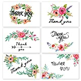 Thank You Cards,48 Pack Watercolor Paint Floral Flower Greeting Cards with SELF-SEAL Envelopes for Wedding, Baby Shower, Bridal, Business, Anniversary (6 styles, 4 x 6 inch)