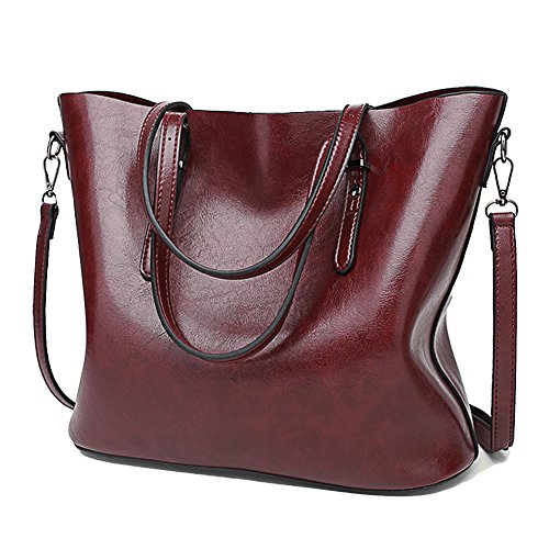 SSMK Womens Handbags Fashion Handbags for Women Leather Shoulder Bags Messenger Tote Bags Wine Red