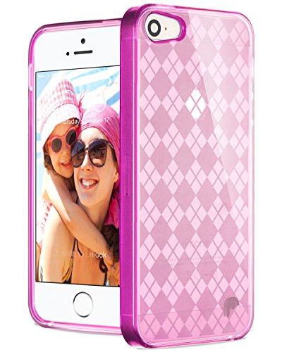 Fosmon DURA TPU Checker Design case for iPhone 5 / 5s / SE - Hot Pink