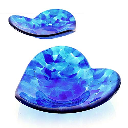 Blue Fused Glass Art Sculptured Heart Candy Dish -