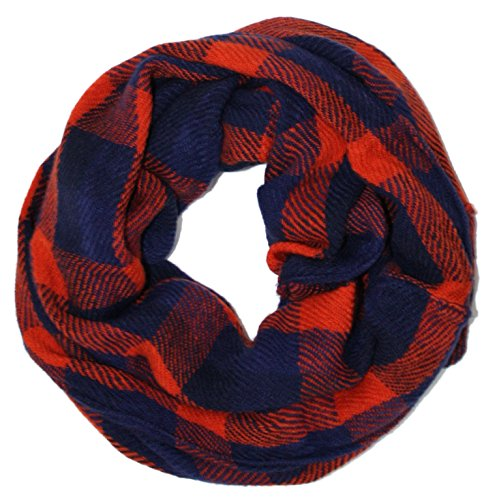 Ted and Jack - Lightweight Textured Woven Look Check Scarf in Orange and Navy